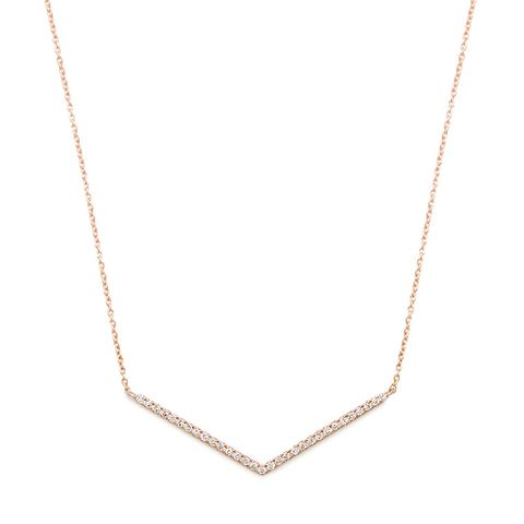 Diamond & Rose-Gold Chevron Necklace