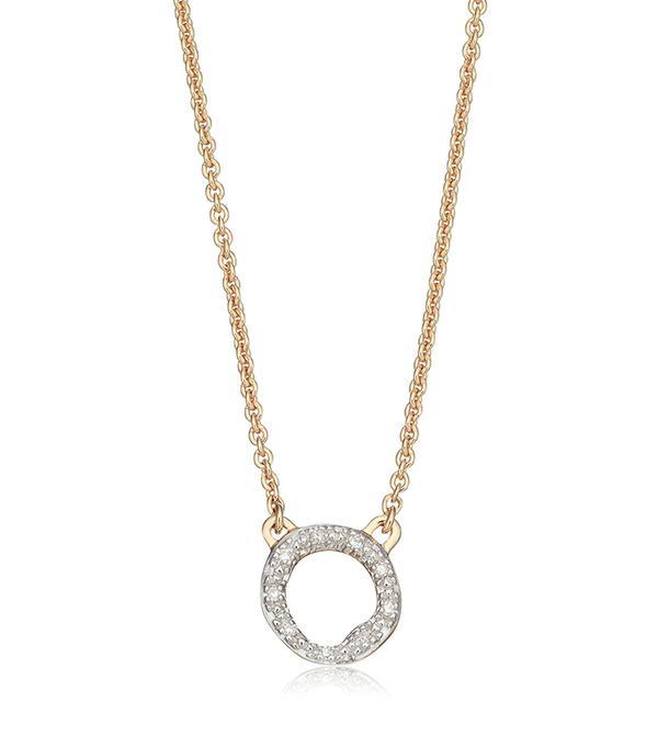 Women's Monica Vinader Riva Diamond Circle Pendant Necklace