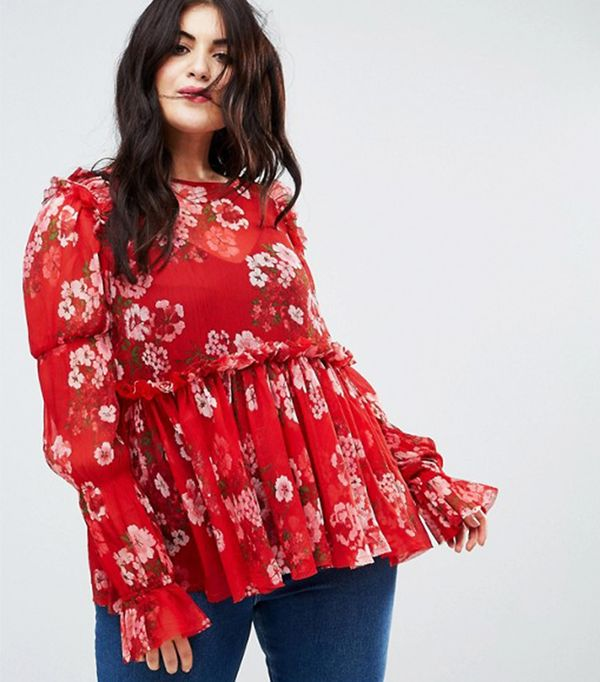 ASOS CURVE Ruffle Smock Blouse In Red Floral