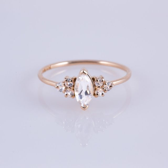 Carried Jewels White Sapphire French Kiss Ring
