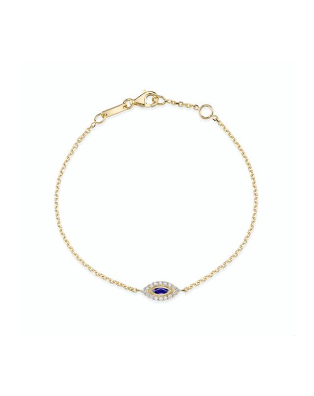 Anita Ko Blue Sapphire Evil Eye Chain Bracelet