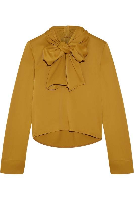 Dawn Pussy-bow Satin-crepe Blouse