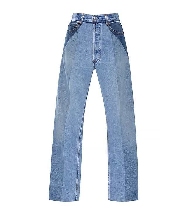 Ultra High Rise Straight Leg Patchwork Jeans