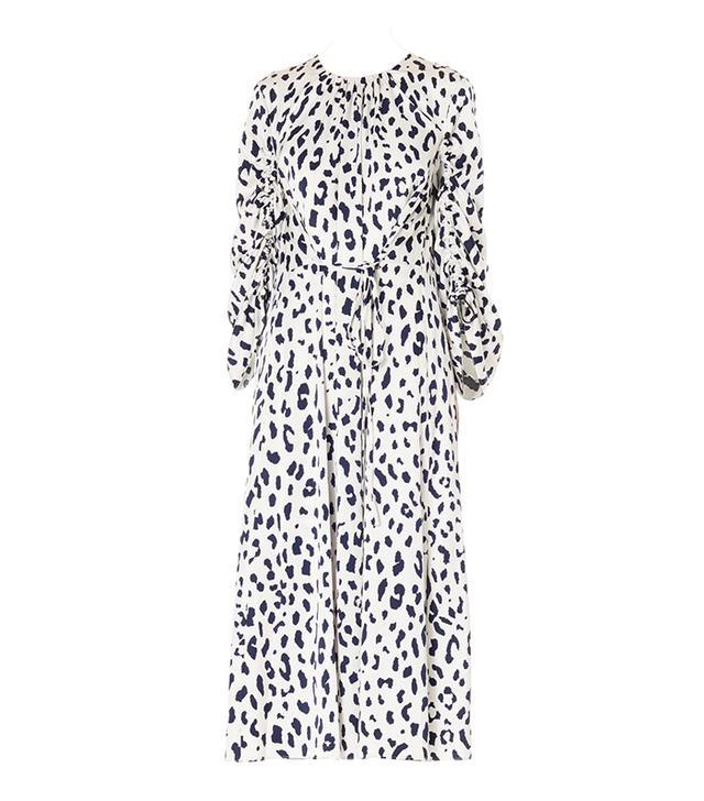 Cheetah on Hammered Satin Sculpted Sleeve Dress
