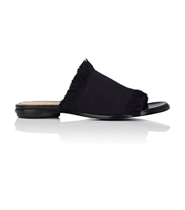 Women's Fringed Canvas Mules