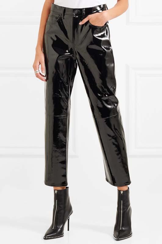 Patent-leather Straight-leg Pants