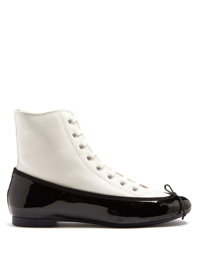 Ballet high-top canvas and leather trainers