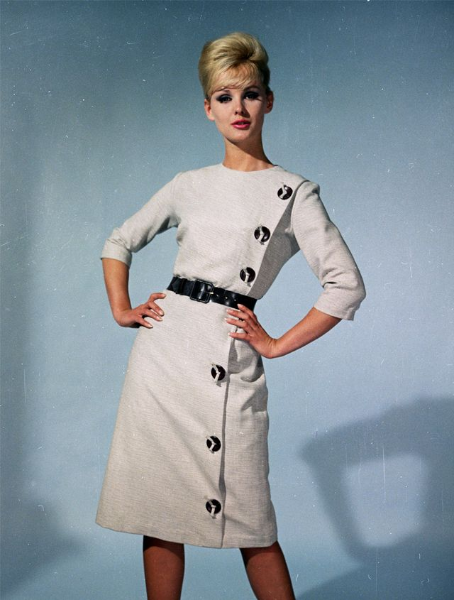 '60s Fashion: Contrasting buttons provided a cost-effective update to plain garments