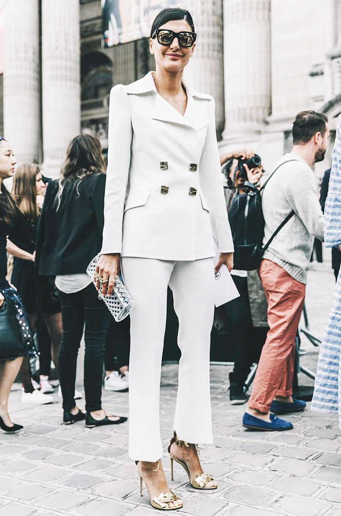 7f1fef94199 ... cocktail attire at the end. Few looks are chicer than a tailored  pantsuit in head-to-toe white.