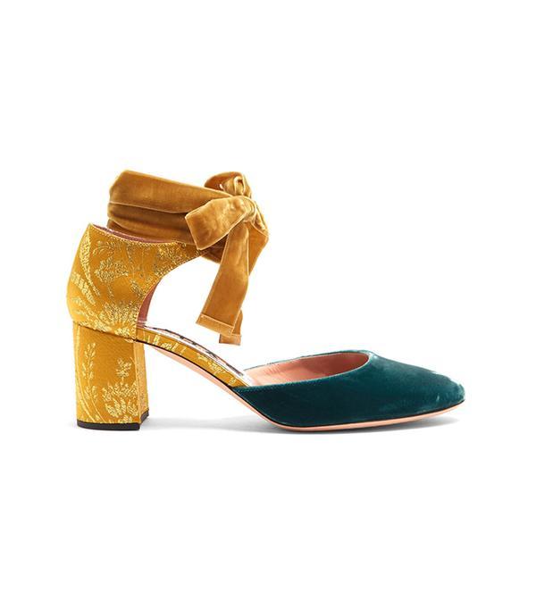 Block-heel velvet and brocade pumps