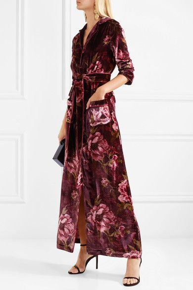 F.R.S For Restless Sleepers Lelantos Floral-Print Velvet Robe