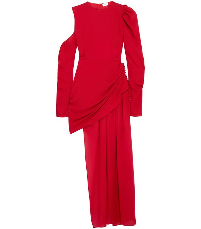 Sevilla Cold-shoulder Asymmetric Silk-crepe Midi Dress