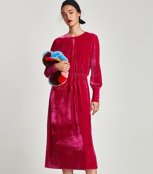 Zara Velvet Dress With Vents