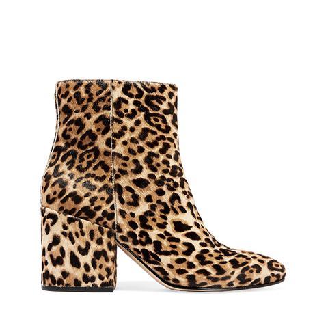 Taye Leopard-Print Calf Hair Ankle Boots