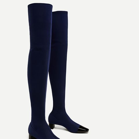 Over-the-Knee High Heel Boots With Contrasting Toe