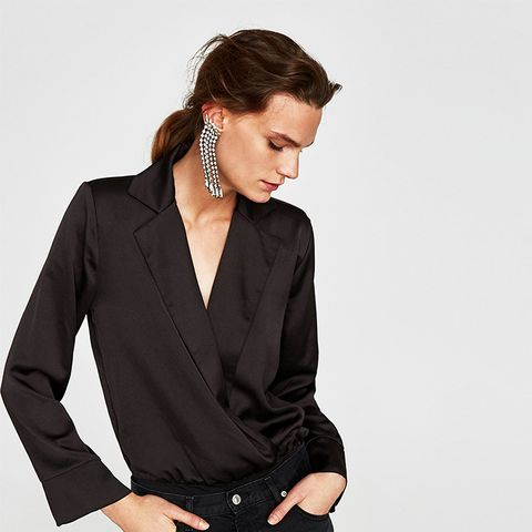 Bodysuit With Lapel Collar