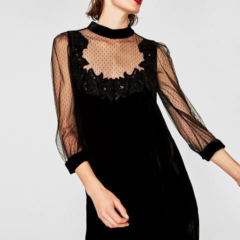 Contrast Velvet Dress