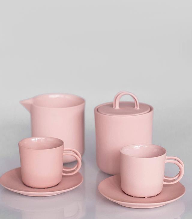 EndeCeramics Pink Porcelain Coffee Set