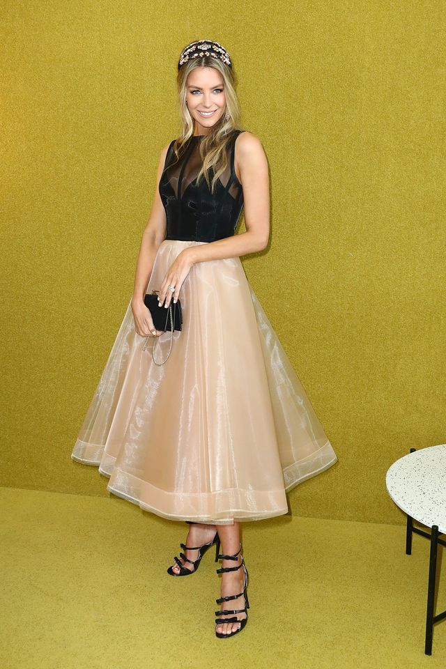 <p><strong>WHO:</strong> Jennifer Hawkins</p> <p><strong>WEAR:</strong> Alex Perry dress</p>