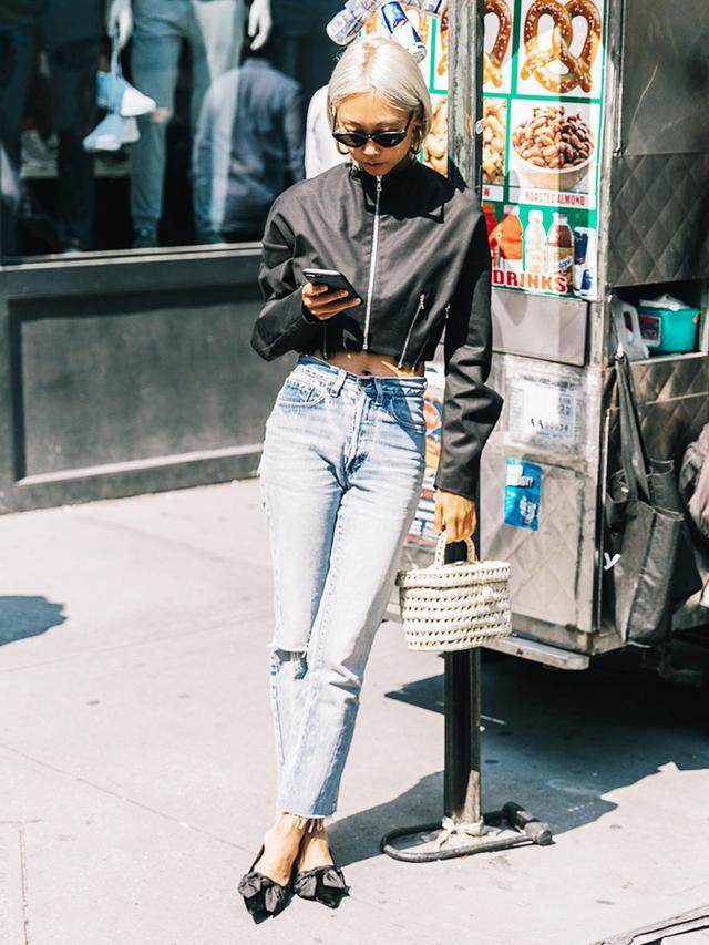 Cropped Jacket + Vintage Jeans + Ballet Flats