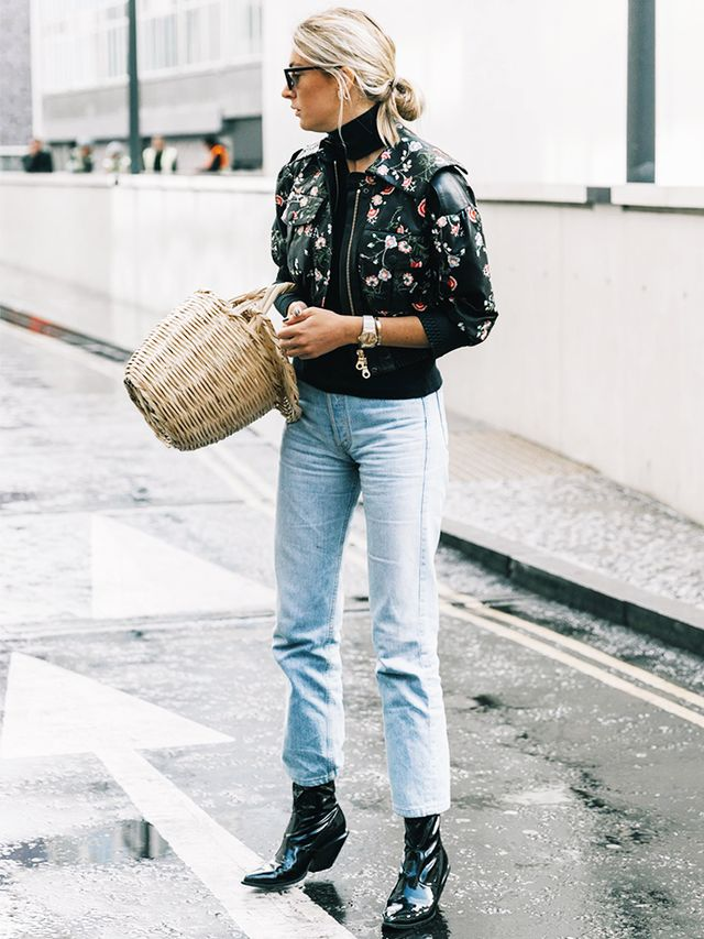Statement Jacket + Straight-Leg Jeans + Ankle Boots
