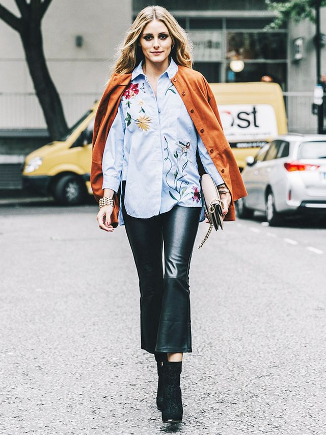 Button-Down Shirt + Cardigan + Leather Pants + Ankle Boots