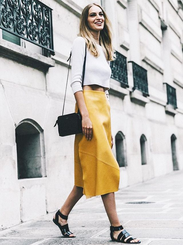 Cropped Sweater + High-Waisted Midi Skirt