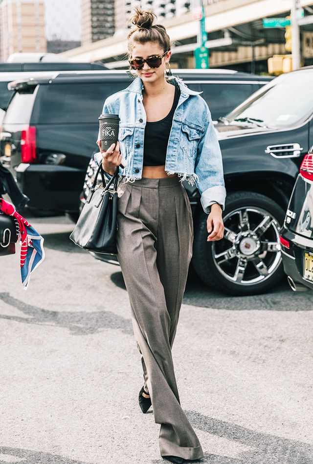 Jean Jacket + Crop Top + High-Waisted Slacks