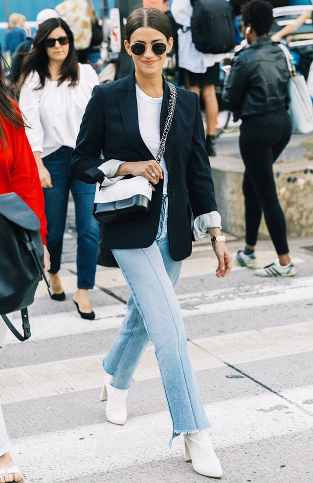 Tailored Blazer + White T-Shirt + Jeans + Ankle Boots