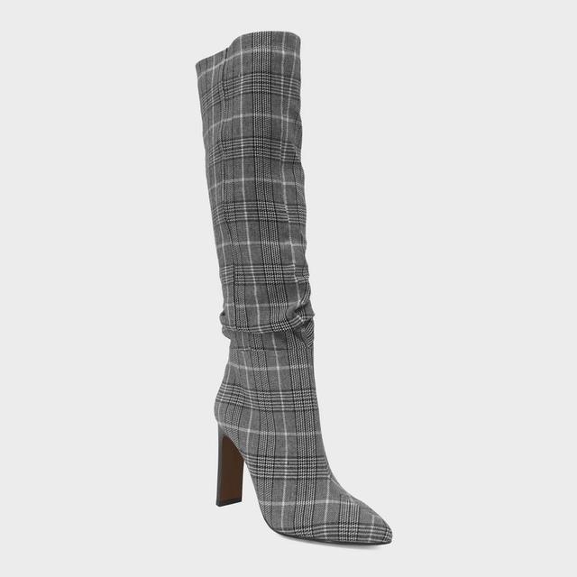 Leigh Plaid Slouch Tall Fashion Boots