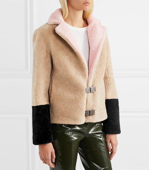 Heidi Color-block Shearling Jacket