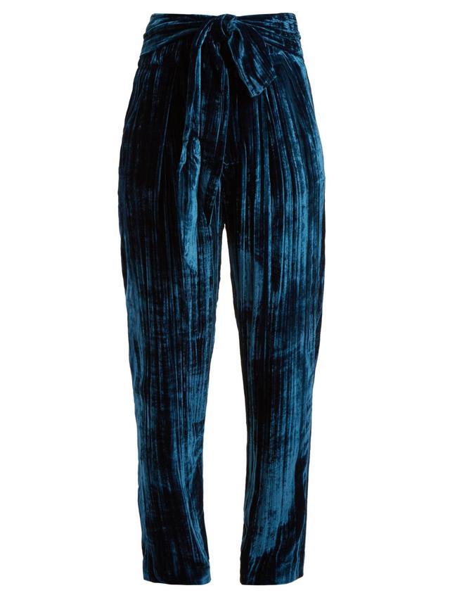 Tie-waist tapered-leg crinkle-velvet trousers