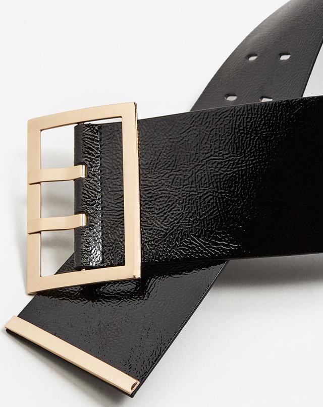 Mango Patent Leather Sash Belt