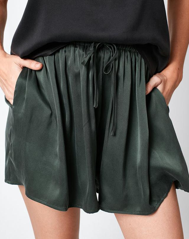 Silk Laundry Silk Gathered Shorts Hunter Green