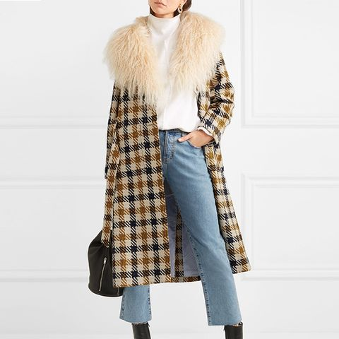 Margot Shearling-Trimmed Checked Tweed Coat