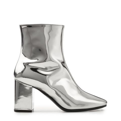 Mirror Metallic Leather Ankle Boots