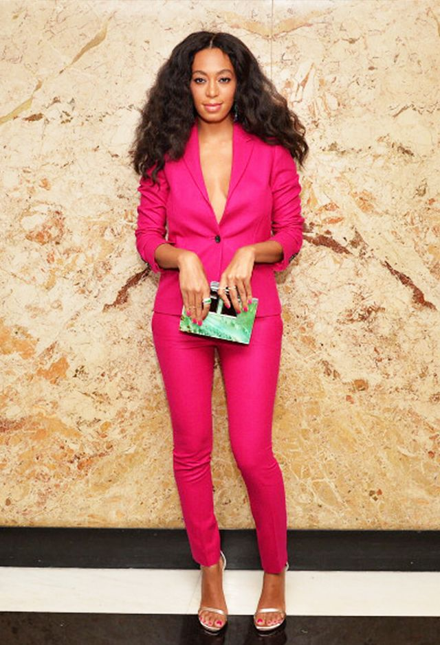 "<p><strong>On Solange Knowles:</strong> Gucci blazer and pants; Stuart Weitzman shoes; <span style=""line-height: 20.7999992370605px;"">Rauwolf clutch</span></p>"