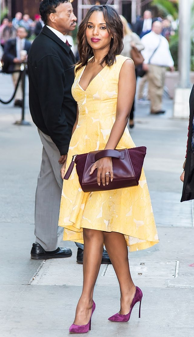 "<p><strong>On Kerry Washington:</strong> Giles Deacon dress; <span style=""line-height: 20.7999992370605px;"">Casadei shoes</span><span style=""line-height: 20.7999992370605px;"">; Purple..."