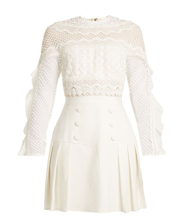 Bellis pleated guipure-lace and crepe dress