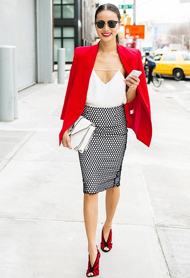 "<p><strong>On Jamie Chung:</strong> Reese and Riley blazer; <span style=""line-height: 20.7999992370605px;"">Cameo The Label </span>top; Elizabeth and James skirt</p>"