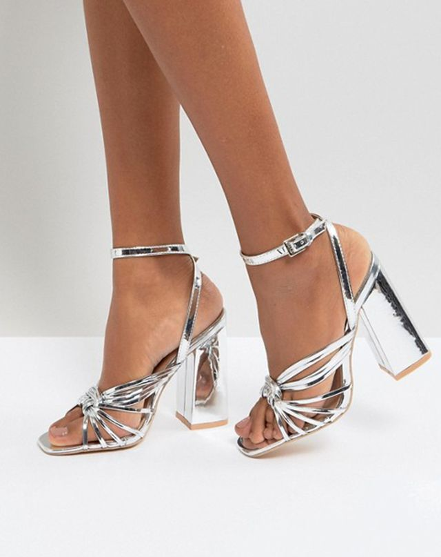 ASOS Lost Ink Silver Block Heeled Strappy Sandals
