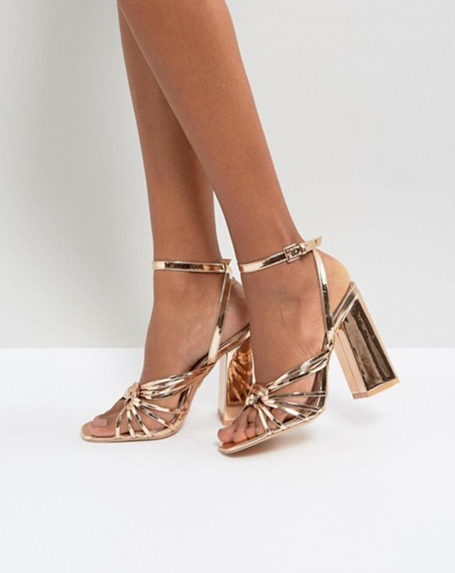ASOS Lost Ink Rose Gold Block Heeled Strappy Sandals
