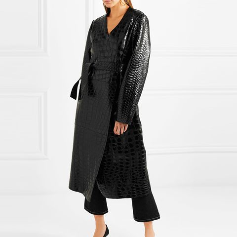 Snake and Crocodile-Effect Glossed-Leather Trench Coat