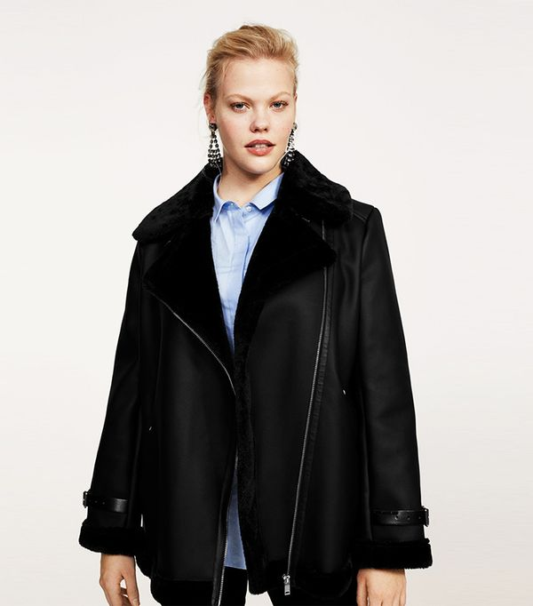 Faux-fur lining biker coat
