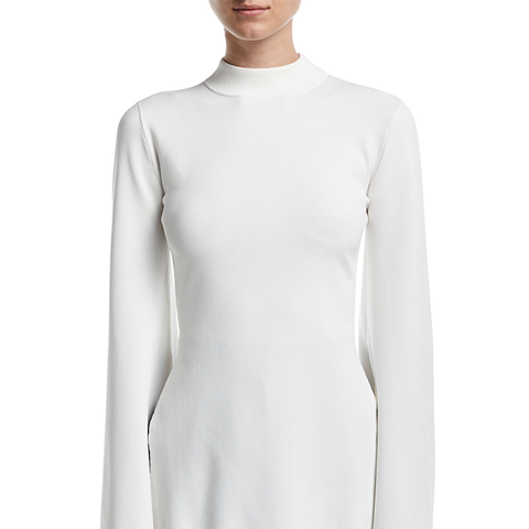Adelia Mock-Neck Bell-Sleeve Fitted Top