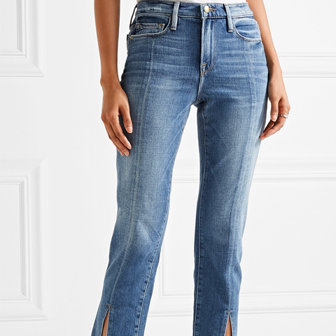 Le Nouveau Distressed Mid-Ride Straight-Leg Jeans