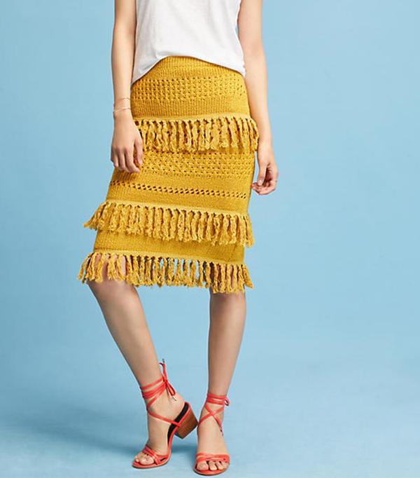 Tiered Fringe Pencil Skirt