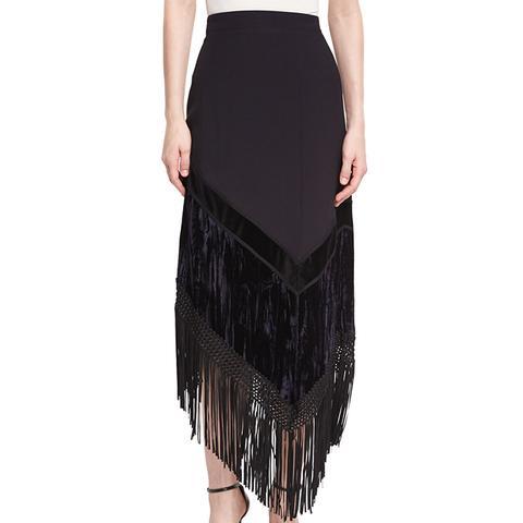Asymmetric Fringed Midi Skirt