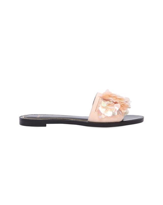 Lanvin Sequined Suede Slide Sandals