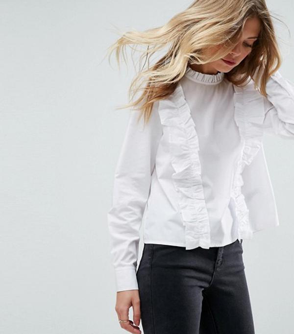 Cotton Ruffle Top With High Neck